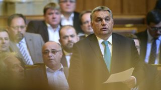 Budapest, 2017. október 9. Orbán Viktor miniszterelnök felszólal az Országgyûlés plenáris ülésén 2017. október 9-én. MTI Fotó: Balogh Zoltán