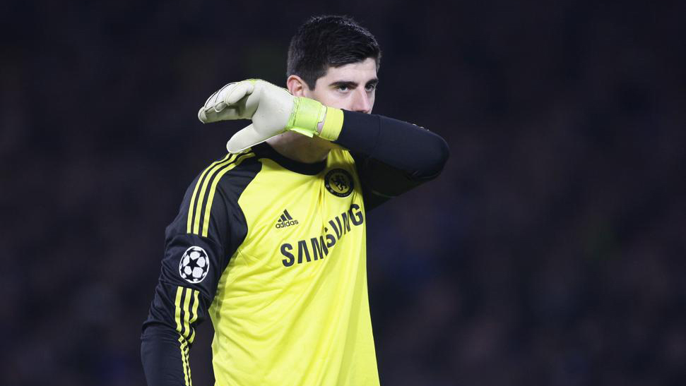 Dejected Thibaut Courtois of Chelsea during the UEFA Champions League football match between Chelsea and Paris Saint-Germain at Stamford Bridge in London on March 11, 2015. Photo BPI / DPPI