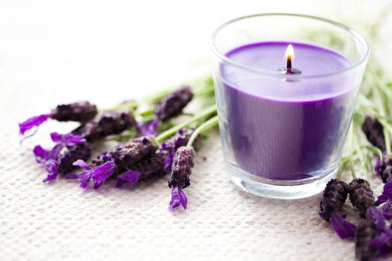 lavender candle with fresh flowers