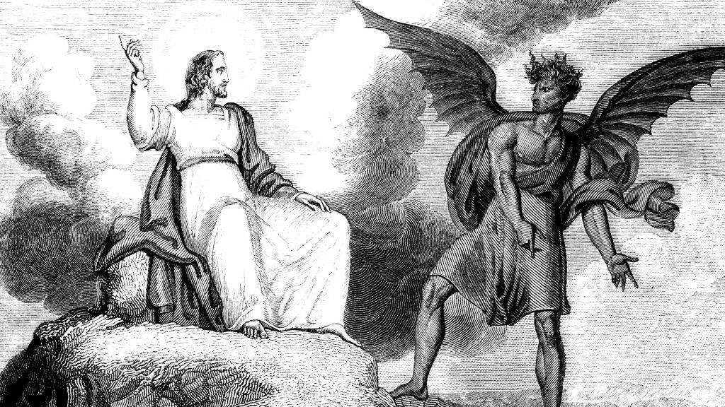 An engraved illustration of the temptation of Jesus Christ by R. Westall from a Georgian book titled 'Illustrated to the Testament' dated 1836 that is no longer in copyright