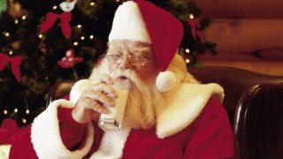 Santa Claus drinking a glass of milk