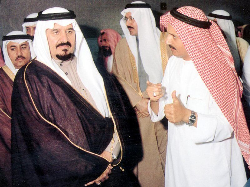 File picture dating back to the mid-1990s shows Saudi Defense Minister Prince Sultan bin Abdul Aziz (L) listening to prominent businessman Bakr bin Laden (R) during a visit to the holy Saudi city of Medina.  Bakr is a brother of Saudi-born terror suspect Osama bin Laden. The kingdom announced last week that it will protect bin Laden's relatives just the same as all other citizens.   AFP PHOTO/HO / AFP PHOTO