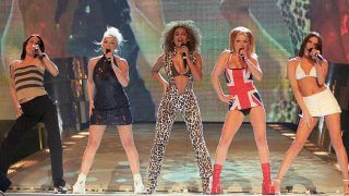 The hottest of the new wave of girl groups, The Spice Girls perform on stage at the Brit Awards ceremony held here late 24 FEB.  before picking up awards for the Best British Video and Best Single.   / AFP PHOTO / PRESS ASSOCIATION / FIONA HANSON