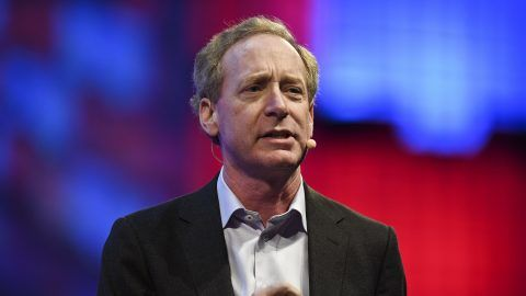 Microsoft president and chief legal officer Brad Smith delivers a speech during the 2017 Web Summit in Lisbon on November 8, 2017.  Europe's largest tech event Web Summit is being held at Parque das Nacoes in Lisbon from November 6 to November 9.  / AFP PHOTO / PATRICIA DE MELO MOREIRA