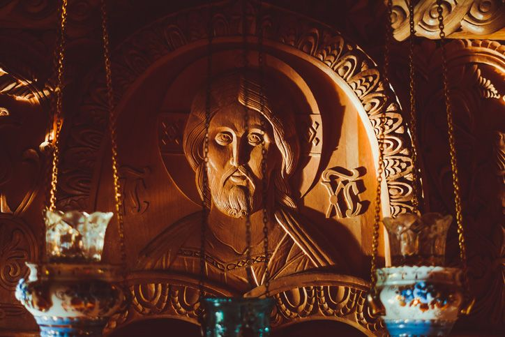 the face of Jesus carved out of wood in the Russian Church
