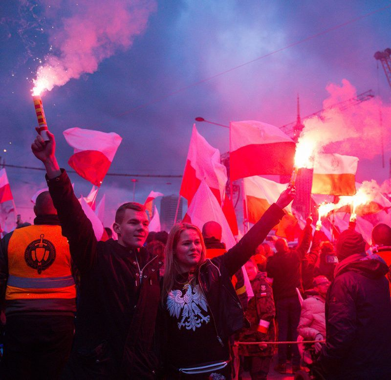 March of Independence, organized by the National Movement organization and March of Independence Association on Polish Independence Day in Warsaw, Poland on 11 November 2017 (Photo by Mateusz Wlodarczyk/NurPhoto)