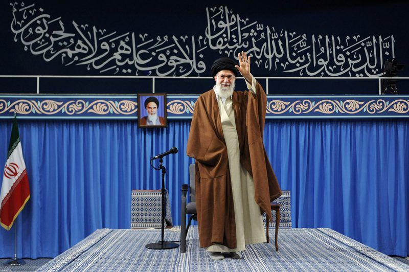 Iran's Supreme Leader Ayatollah Ali Khamenei waves as he arrives to deliver a speech in Tehran, Iran, November 2, 2017. Leader.ir/Handout via REUTERS  ATTENTION EDITORS - THIS IMAGE WAS PROVIDED BY A THIRD PARTY. NO RESALES. NO ARCHIVE.