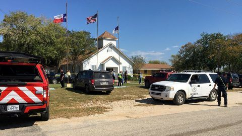 The area around a site of a mass shooting is taped out in Sutherland Springs, Texas, U.S., November 5, 2017, in this picture obtained via social media. MAX MASSEY/ KSAT 12/via REUTERS THIS IMAGE HAS BEEN SUPPLIED BY A THIRD PARTY. MANDATORY CREDIT.NO RESALES. NO ARCHIVES. NO ACCESS SAN ANTONIO MEDIA MARKETS/NO RESALE
