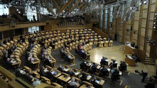 A general view shows the chamber of the Scottish Parliament during the first day of the 'Scotland's Choice' debate on a motion to seeking authority to request the power to hold an indpendence referendum at the Scottish Parliament in Edinburgh on March 21, 2017. Scottish lawmakers on March 21 began a two-day debate on First Minister Nicola Sturgeon's call for an independence referendum -- a major headache for Prime Minister Theresa May as she prepares to launch Brexit. / AFP PHOTO / Andy Buchanan