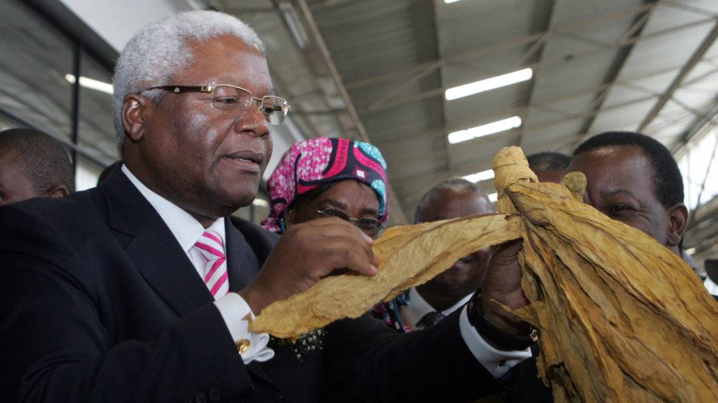 This picture taken on February 19, 2014 shows Zimbabwe acting Minister of Agriculture Ignatius Chombo inspecting a leaf as he officially opens the annual Zimbabwe tobacco marketing season in Harare at the Tobacco Sales Floors. Zimbabwe hopes to boost agricultural output by almost 10 percent this year with an increase in tobacco production, already the country's biggest export, a minister said on Wednesday. Still recovering from the country's chaotic land reform laws pushed by President Robert Mugabe, the sector has attracted small-scale farmers who were allocated farms. AFP PHOTO / JEKESAI NJIKIZANA / AFP PHOTO / JEKESAI NJIKIZANA