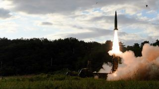 """This handout photo taken on September 15, 2017 and provided by South Korean Defence Ministry in Seoul shows South Korea's missile system firing Hyunmu-2 missile into the East Sea from an undisclosed location on South Korea's east coast during a live-fire exercise aimed to counter North Korea's missile test. North Korea fired a ballistic missile over Japan and into the Pacific on September 15, responding to new UN sanctions with what appeared to be its furthest-ever missile flight amid high tensions over its weapons programmes. / AFP PHOTO / South Korean Defence Ministry / str / RESTRICTED TO EDITORIAL USE - MANDATORY CREDIT """"AFP PHOTO / South Korean Defence Ministry"""" - NO MARKETING NO ADVERTISING CAMPAIGNS - DISTRIBUTED AS A SERVICE TO CLIENTS"""