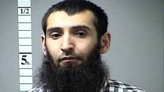 """This handout photograph obtained courtesy of the St. Charles County Dept. of Corrections in the midwestern US state of Missouri on October 31, 2017 shows Sayfullo Habibullahevic Saipov, the suspectecd driver who killed eight people in New York on October 31, 2017, mowing down cyclists and pedestrians, before striking a school bus in what officials branded a """"cowardly act of terror.""""   Eleven others were seriously injured in the broad daylight assault and first deadly terror-related attack in America's financial and entertainment capital since the September 11, 2001 Al-Qaeda hijackings brought down the Twin Towers. In April of 2016 a warrant was issued in Missouri for his failure to pay a traffic citation.   / AFP PHOTO / St. Charles Country Dept. of Corrections / Handout / == RESTRICTED TO EDITORIAL USE  / MANDATORY CREDIT:  """"AFP PHOTO /  ST. CHARLES COUNTY DEPT. OF CORRECTIONS"""" / NO MARKETING / NO ADVERTISING CAMPAIGNS /  DISTRIBUTED AS A SERVICE TO CLIENTS  =="""