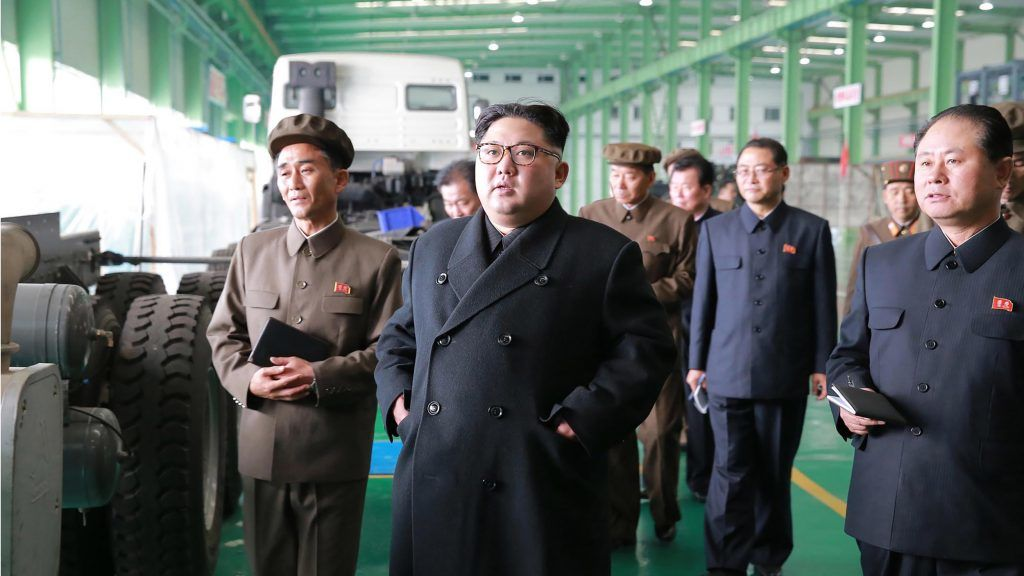 "This undated picture released from North Korea's official Korean Central News Agency (KCNA) on November 4, 2017 shows North Korean leader Kim Jong-Un (C) visiting the March 16 factory at an undisclosed place. The March 16 factory was founded on March 16, 1977 and developed into a large-scale truck making. / AFP PHOTO / KCNA VIS KNS AND AFP PHOTO / STR / South Korea OUT / REPUBLIC OF KOREA OUT   ---EDITORS NOTE--- RESTRICTED TO EDITORIAL USE - MANDATORY CREDIT ""AFP PHOTO/KCNA VIA KNS"" - NO MARKETING NO ADVERTISING CAMPAIGNS - DISTRIBUTED AS A SERVICE TO CLIENTS THIS PICTURE WAS MADE AVAILABLE BY A THIRD PARTY. AFP CAN NOT INDEPENDENTLY VERIFY THE AUTHENTICITY, LOCATION, DATE AND CONTENT OF THIS IMAGE. THIS PHOTO IS DISTRIBUTED EXACTLY AS RECEIVED BY AFP.  /"