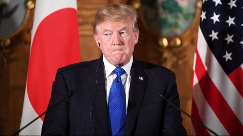 """US President Donald Trump attends a joint press conference with Japanese Prime Minister Shinzo Abe at Akasaka Palace in Tokyo on November 6, 2017. Trump lashed out at the US trade relationship with Japan, saying it was """"not fair and open"""", as he prepared for formal talks with his Japanese counterpart. / AFP PHOTO / JIM WATSON"""