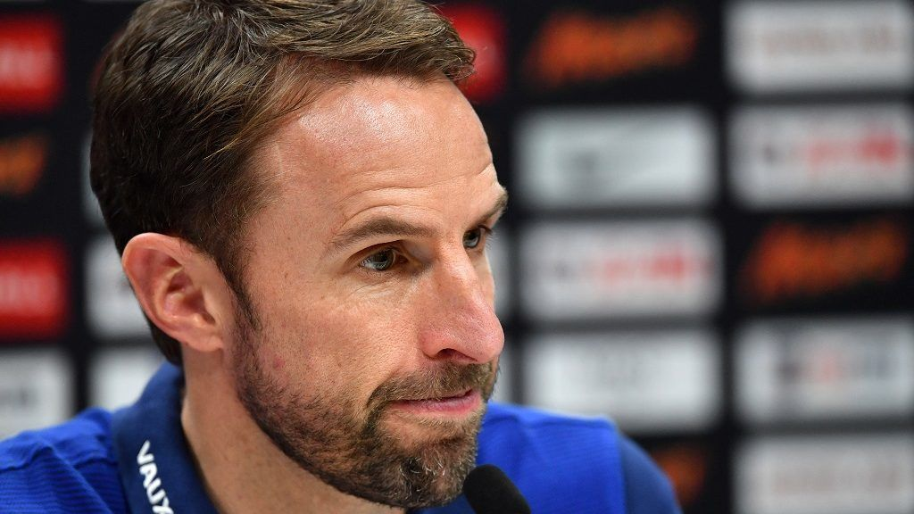 England's manager Gareth Southgate takes questions from members of the media at a press conference at Tottenham Hotspur's Enfield Training Centre, north-east of London, on November 13, 2017 on the eve of their International friendly football match against Brazil. / AFP PHOTO / Ben STANSALL / NOT FOR MARKETING OR ADVERTISING USE / RESTRICTED TO EDITORIAL USE