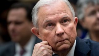 US Attorney General Jeff Sessions listens during a House Judiciary Committee hearing on November 14, 2017, in Washington, DC, on oversight of the US Justice Department. / AFP PHOTO / Brendan Smialowski