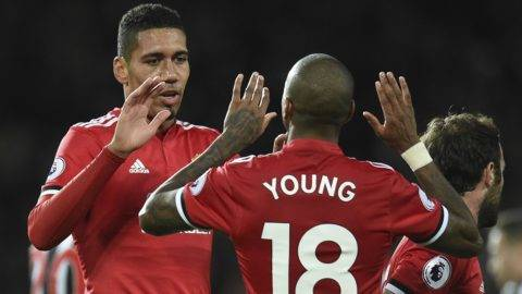 Manchester United's English defender Chris Smalling (L) celebrates scoring their second goal during the English Premier League football match between Manchester United and Newcastle at Old Trafford in Manchester, north west England, on November 18, 2017. / AFP PHOTO / Oli SCARFF / RESTRICTED TO EDITORIAL USE. No use with unauthorized audio, video, data, fixture lists, club/league logos or 'live' services. Online in-match use limited to 75 images, no video emulation. No use in betting, games or single club/league/player publications.  /