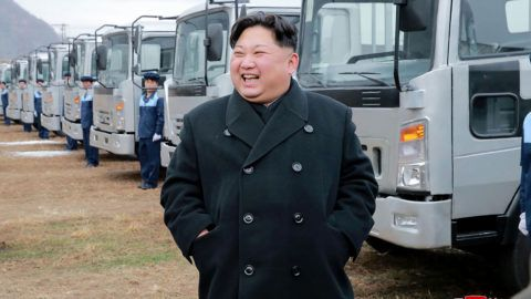 """This undated photo released by North Korea's official Korean Central News Agency (KCNA) on November 21, 2017 shows North Korean leader Kim Jong-Un at the Sungri Motor Complex in South Pyongan Province.   / AFP PHOTO / KCNA VIA KNS / STR / South Korea OUT / REPUBLIC OF KOREA OUT   ---EDITORS NOTE--- RESTRICTED TO EDITORIAL USE - MANDATORY CREDIT """"AFP PHOTO/KCNA VIA KNS"""" - NO MARKETING NO ADVERTISING CAMPAIGNS - DISTRIBUTED AS A SERVICE TO CLIENTS THIS PICTURE WAS MADE AVAILABLE BY A THIRD PARTY. AFP CAN NOT INDEPENDENTLY VERIFY THE AUTHENTICITY, LOCATION, DATE AND CONTENT OF THIS IMAGE. THIS PHOTO IS DISTRIBUTED EXACTLY AS RECEIVED BY AFP.  /"""