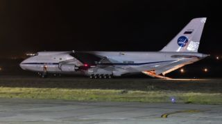 "Russian Antonov 124-100 airplane  is seen on the tarmac of Comodoro Rivadavia airport in Chubut, Argentina on November 24, 2017, bringing gear to take part in the search and rescue mission of the missing Argentine submarine ARA San Juan with a crew of 44. President Mauricio Macri on Friday ordered an inquiry to ""know the truth"" about what happened to Argentina's missing submarine, the San Juan, which disappeared with the loss of its 44 crew. / AFP PHOTO / TELAM / Argentina OUT"