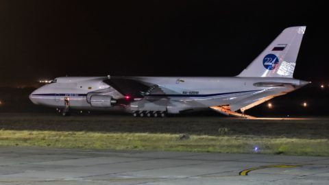 """Russian Antonov 124-100 airplane  is seen on the tarmac of Comodoro Rivadavia airport in Chubut, Argentina on November 24, 2017, bringing gear to take part in the search and rescue mission of the missing Argentine submarine ARA San Juan with a crew of 44. President Mauricio Macri on Friday ordered an inquiry to """"know the truth"""" about what happened to Argentina's missing submarine, the San Juan, which disappeared with the loss of its 44 crew. / AFP PHOTO / TELAM / Argentina OUT"""