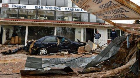 GREECE, Mandra: Damage caused by floodwaters is seen in Mandra in Attica, Greece on November 15, 2017 after heavy rainfall in the area collapsed buildings and killed at least 15 people. - Nicolas Koutsokostas