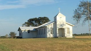 UNITED STATES, Sutherland Springs: First Baptist Church is seen in the picture where a gunman opened fire on church goers in a mass shooting in Sutherland Springs, Texas, on November 5, 2017. At least 26 people were killed and 20 others are injured. - roger sollenberger