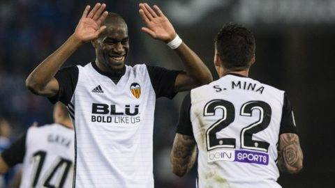 22 Santi Mina from Spain of Valencia CF celebrating his goal with 16 Kondogbia from France of Valencia CF during the match of La Liga Santander between RCD Espanyol v Valencia CF, at RCD Stadium in Barcelona on 19 of November, 2017. (Photo by Xavier Bonilla/NurPhoto)