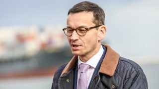 Deputy Prime Minister, Minister of Economic Development and Finance Mateusz Morawiecki is seen in Gdansk, Poland on 7 October 2017 PM Morawiecki visits Deepwater Container Terminal in Gdansk in occasion of 10th anniversary of the DCT Terminal. (Photo by Michal Fludra/NurPhoto)
