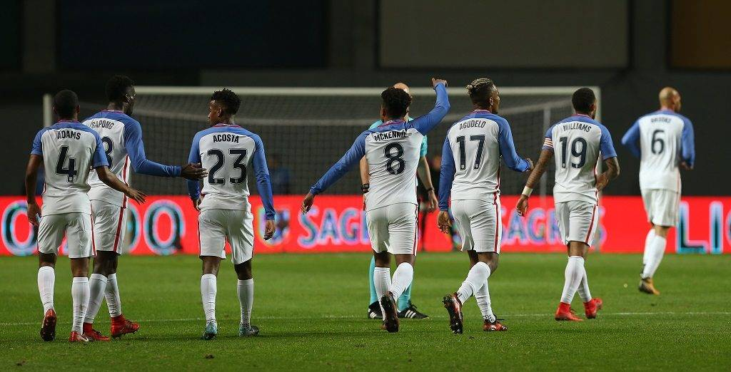 United States of America midfielder Weston McKennie  (C) celebrating with is team mate after scoring a goal during the match between Portugal and United States of America International Friendly at Estadio Municipal de Leiria, on November 14, 2017 in Leiria, Portugal. (Photo by Bruno Barros / DPI / NurPhoto)