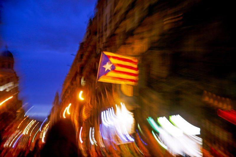 demonstration in the Plaza de la Catedral and the Via Layetana during the general strike in Catalonia in protest against the political decisions of the Spanish Government and in favor of Independence, in Barcelona, on november 08, 2017. Photo: Joan Valls/Urbanandsport/Nurphoto -- (Photo by Urbanandsport/NurPhoto)