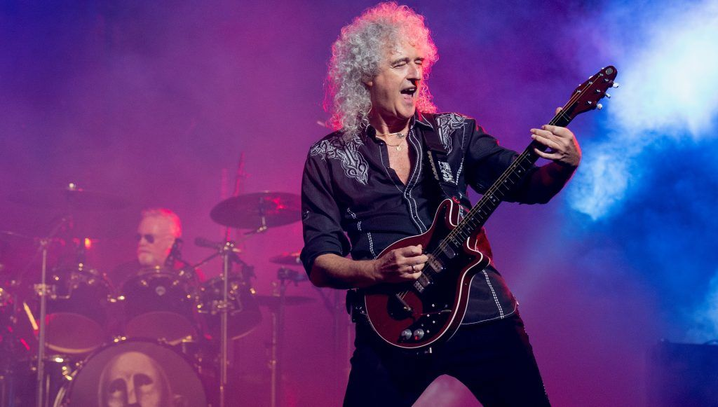 AUBURN HILLS, MI - JULY 20:  Roger Taylor (L) and Brian May of Queen + Adam Lambert perform at The Palace of Auburn Hills on July 20, 2017 in Auburn Hills, Michigan.  (Photo by Erika Goldring/WireImage)