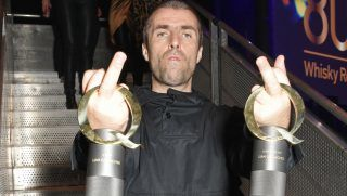 LONDON, ENGLAND - OCTOBER 18:  (EDITOR'S NOTE: Image contains profanity) Liam Gallagher, winner of the Q Icon award and the Q Best Live Act award, attends The Q Awards 2017, in association with Absolute Radio, at The Roundhouse on October 18, 2017 in London, England.  (Photo by David M. Benett/Dave Benett/Getty Images)