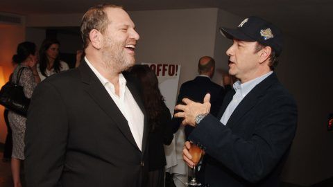 """Harvey Weinstein and Kevin Spacey during Book Party for Peter Bart's """"Boffo!"""" - June 26, 2006 at Royalton Hotel in New York, New York, United States. (Photo by Stephen Lovekin/WireImage for The Weinstein Company)"""