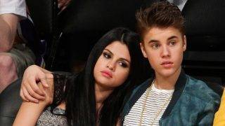 LOS ANGELES, CA - APRIL 17:  Selena Gomez (L) and Justin Bieber attend a basketball game between the San Antonio Spurs and the Los Angeles Lakers at Staples Center on April 17, 2012 in Los Angeles, California.  (Photo by Noel Vasquez/Getty Images)