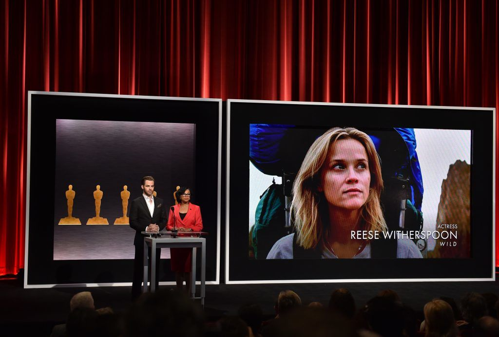 BEVERLY HILLS, CA - JANUARY 15:  Actor Chris Pine and Academy President Cheryl Boone Isaacs announce Reese Witherspoon as a nominee for Best Actress in the film 'Wild' at the 87th Academy Awards Nominations Announcement at the AMPAS Samuel Goldwyn Theater on January 15, 2015 in Beverly Hills, California  (Photo by Kevin Winter/Getty Images)