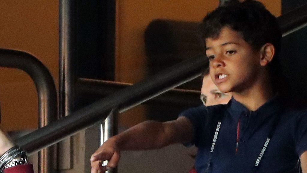 PARIS, FRANCE - JUNE 18:  Ronaldo Junior son of Cristiano Ronaldo during the UEFA EURO 2016 Group F match between Portugal and Austria at Parc des Princes on June 18, 2016 in Paris, France.  (Photo by Stanley Chou/Getty Images)
