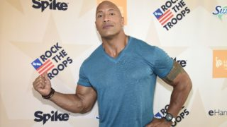 """HONOLULU, HI - OCTOBER 22:  Dwayne 'The Rock' Johnson at """"Spike's Rock the Troops"""" event held at Joint Base Pearl Harbor - Hickam on October 22, 2016 in Honolulu, Hawaii. """"Spike's Rock the Troops"""" will premiere on December 13 at 9 PM, ET/PT on Spike.  (Photo by Kevin Mazur/Getty Images for Spike)"""