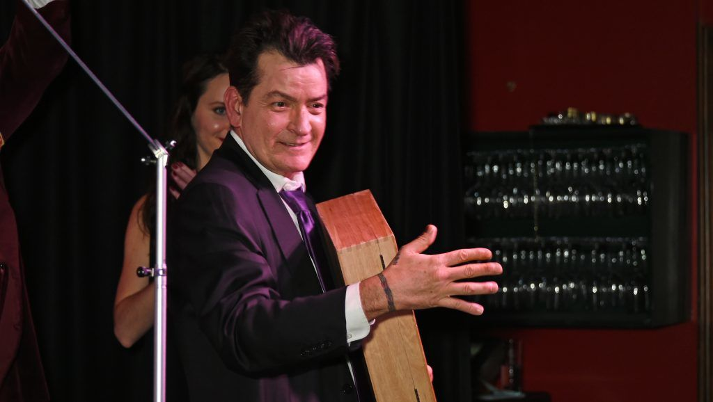 LONDON, ENGLAND - DECEMBER 12:  Charlie Sheen accepts the Cigar Smoker of the Year Runner-Up award at the Snow Queen Cigar Smoker of the Year awards at Boisdale of Canary Wharf on December 12, 2016 in London, England.  (Photo by David M. Benett/Dave Benett/Getty Images)