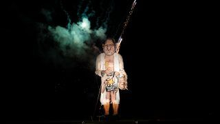 EDENBRIDGE, ENGLAND - NOVEMBER 04: An effigy of film producer Harvey Weinstein is burned during a fireworks display at Edenbridge Bonfire Night on November 4, 2017 in Edenbridge, England. Each year the Edenbridge Bonfire Society creates a 'Celebrity Guy' effigy of an infamous public figure which is burnt during the annual bonfire night celebrations. (Photo by Jack Taylor/Getty Images)