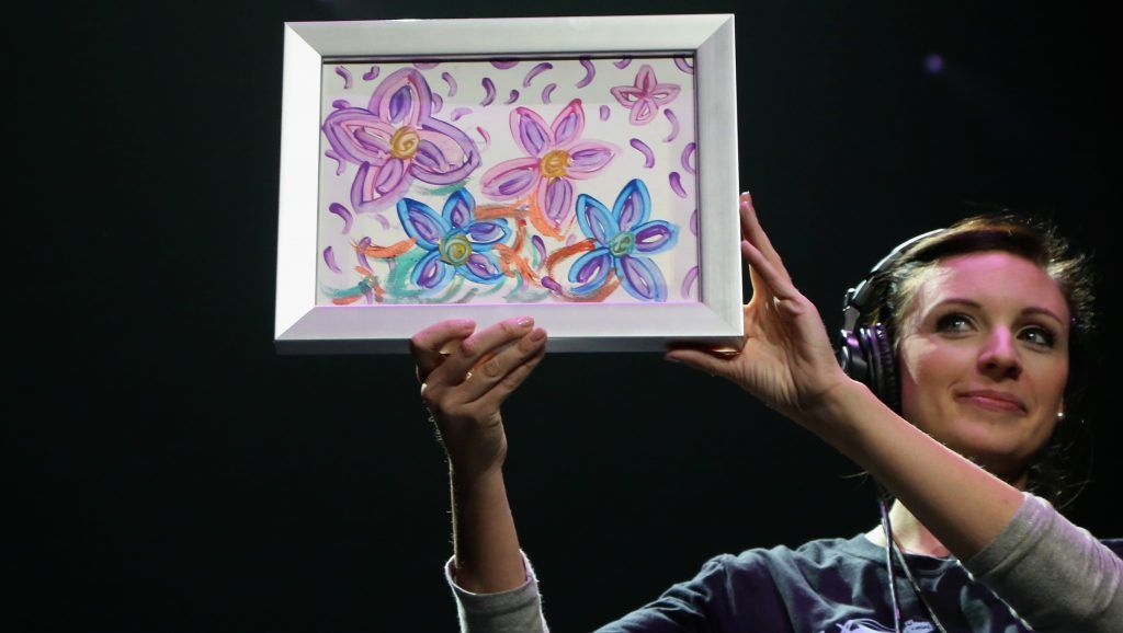 LAS VEGAS, NV - NOVEMBER 05:  A painting by singer Britney Spears is auctioned off for USD 10,000 during the Vegas Cares benefit at The Venetian Las Vegas honoring victims and first responders of last month's mass shooting at the Route 91 Harvest country music festival on November 5, 2017 in Las Vegas, Nevada.  (Photo by Gabe Ginsberg/Getty Images)