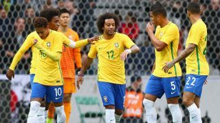 during the international friendly match between Brazil and Japan at Stade Pierre-Mauroy on November 10, 2017 in Lille, France.