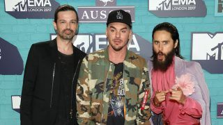 LONDON, ENGLAND - NOVEMBER 12:  (L-R) Tomo Milicevic, Shannon Leto and Jared Leto of Thirty Seconds to Mars attend the MTV EMAs 2017 held at The SSE Arena, Wembley on November 12, 2017 in London, England.  (Photo by Andreas Rentz/Getty Images for MTV)