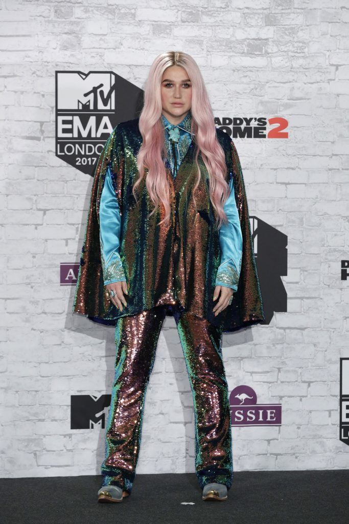 LONDON, ENGLAND - NOVEMBER 12:  Kesha poses in the winner's room during the MTV EMAs 2017 held at The SSE Arena, Wembley on November 12, 2017 in London, England.  (Photo by John Phillips/Getty Images for MTV)