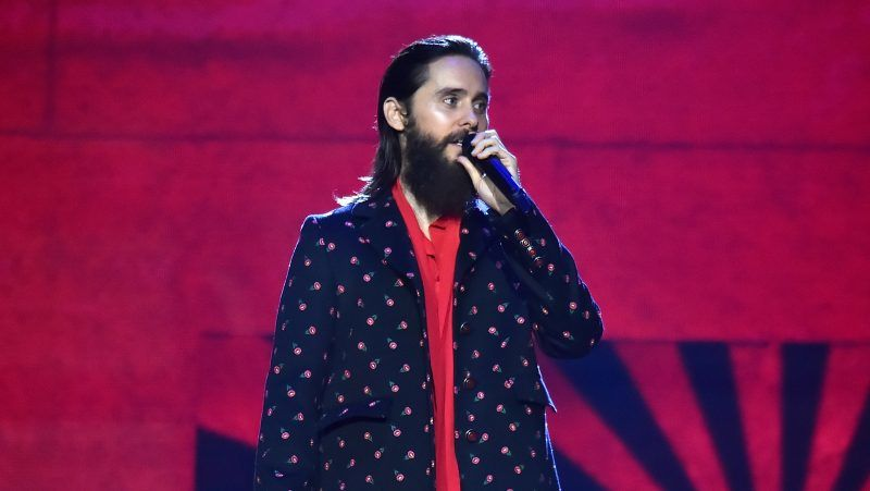 LONDON, ENGLAND - NOVEMBER 12:  Jared Leto speaks on stage during the MTV EMAs 2017 held at The SSE Arena, Wembley on November 12, 2017 in London, England.  (Photo by Kevin Mazur/WireImage)