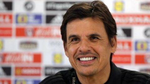 CARDIFF, WALES - NOVEMBER 13: Manager, Chris Coleman speaks to reporters during the Wales Press Conference at The Cardiff City Stadium on November 13, 2017 in Cardiff, Wales. (Photo by Athena Pictures/Getty Images)