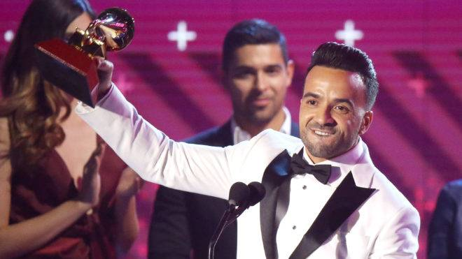LAS VEGAS, NV - NOVEMBER 16:  Luis Fonsi speaks onstage during the 18th Annual Latin Grammy Awards held at MGM Grand Garden Arena on November 16, 2017 in Las Vegas, Nevada.  (Photo by Michael Tran/FilmMagic)