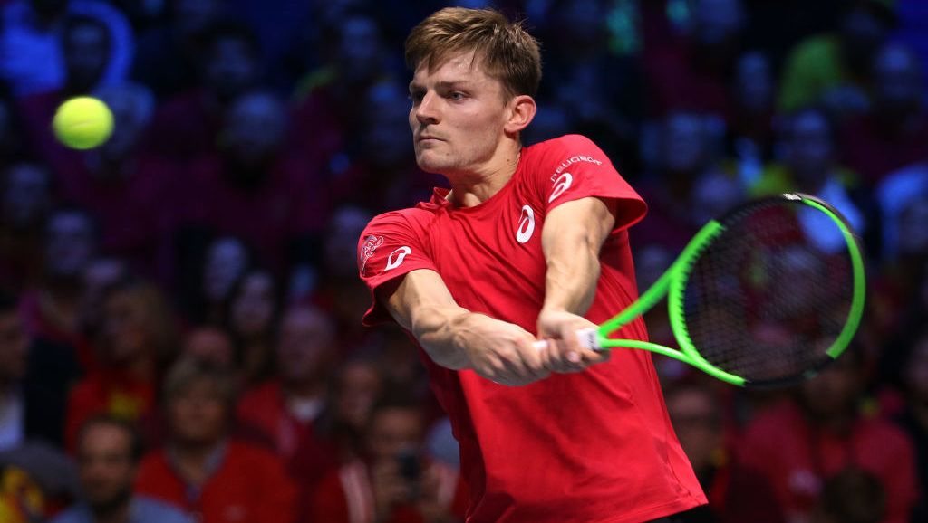 LILLE, FRANCE - NOVEMBER 24: David Goffin of Belgium in action against Lucas Pouille of France during day 1 of the Davis Cup World Group Final between France and Belgium at Stade Pierre Mauroy on November 24, 2017 in Lille, France. (Photo by Jean Catuffe/Getty Images)