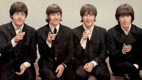 BEATLES  1966 Paul McCartney, Ringo Starr, John Lennon and George Harrison at Top Of The Pops