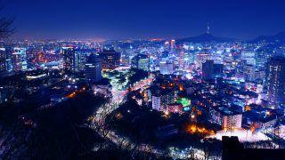 South Korea skyline at night.