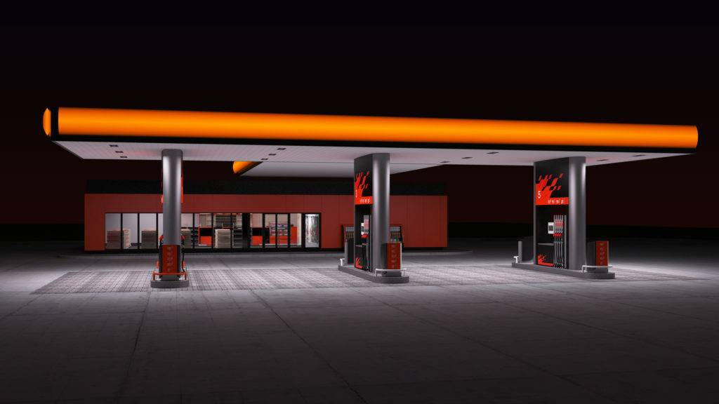 night view of gas refuel station